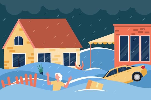 Zszokowani ludzie machają rękami i wołają o pomoc po pasie głęboko w wodzie między domami, pływającymi samochodami i skrzyniami