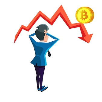 Zszokowany biznesmen patrząc na wykres awarii bitcoin