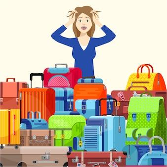Zszokowany młoda kobieta dziewczyna podróżnik ma problemy z walizkami zbyt wiele rzeczy, aby wziąć ilustracyjny styl mieszkania. pakowanie toreb bagażowych na podróż.