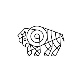 Żubr monoline zarys linii sztuki logo wektor ikona ilustracja
