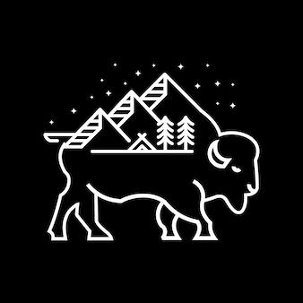 Żubr przygoda ilustracja góry