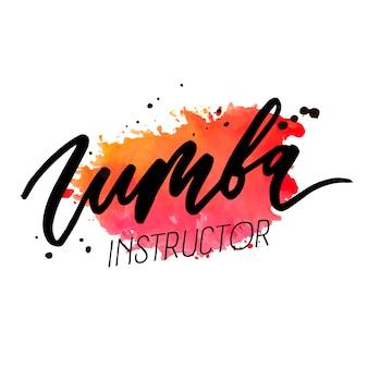 Zumba wektor napis akwarela słowo tekst kolor pop art dance