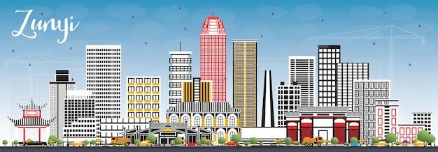 Zunyi china city skyline z szarymi budynkami i błękitnym niebem. ilustracja wektorowa. podróże służbowe i koncepcja turystyki z nowoczesną architekturą. gród zunyi z zabytkami.