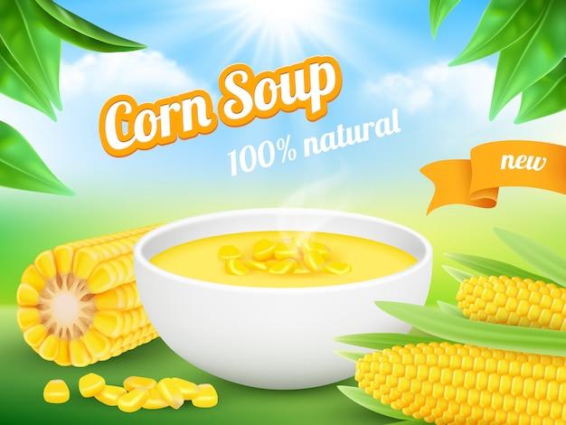 Zupa kukurydziana. reklamowy plakat przekąski produktu kukurydzy słodycze szablon
