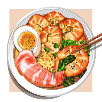 Zupa ramen z owocami morza