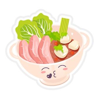 Zupa z makaronem chińskim wołowym ładny kawaii znaków. ramen miska z całowaniem twarzy. tradycyjne danie azjatyckie. mięso z warzywami śmieszne emoji, emotikony. ilustracja kolor kreskówka na białym tle