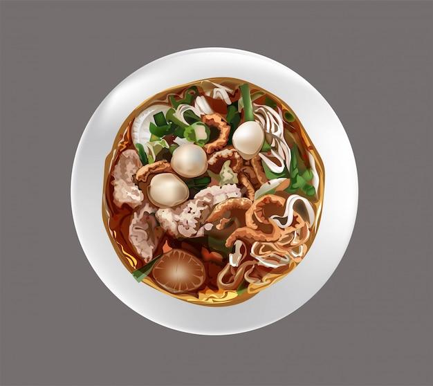 Zupa z makaronem w języku tajskim
