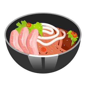 Zupa z makaronem z ikoną koloru wieprzowiny w plasterkach. azjatyckie danie w misce. wschodnia tradycyjna kuchnia. ramen z kotletami mięsnymi. chińskie jedzenie z beaf i warzywami. ilustracja na białym tle