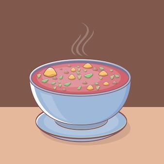 Zupa Z Warzywami Na Talerzu Premium Wektorów