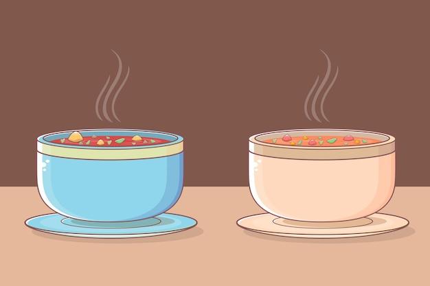 Zupa z warzywami w zestawie talerz