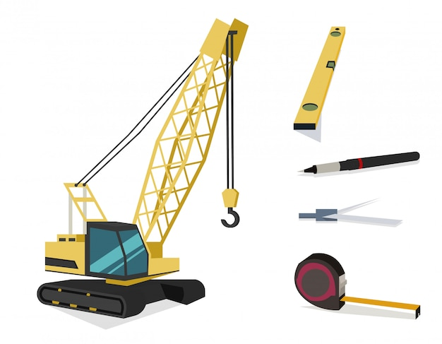 Żuraw budowy i pracownik roboczy narzędzia