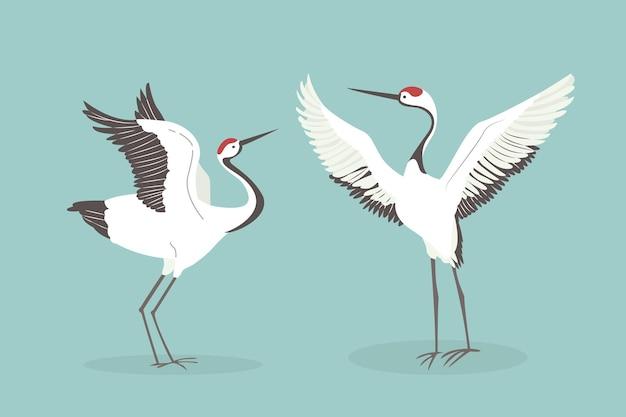 Żuraw czerwonobrązowy trzepocze skrzydłami. taniec godowy dwóch japońskich żurawi, azjatycka przyroda