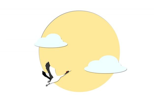 Żuraw lecący w chmury i słońce.