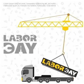 Żuraw z labor day typografii na tle wzór