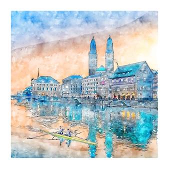 Zurych, szwajcaria szkic akwarela ręcznie rysowane ilustracja