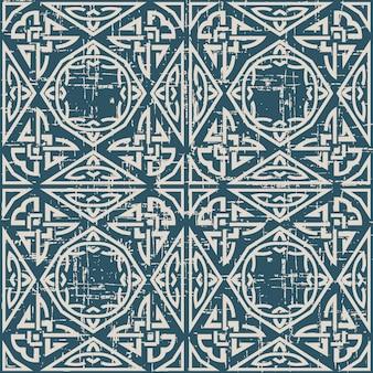 Zużyty antyczny wzór z aborygeńskim łańcuchem trójkąta wielokąta