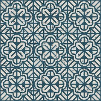 Zużyty antyczny wzór z kwiatem geometrii