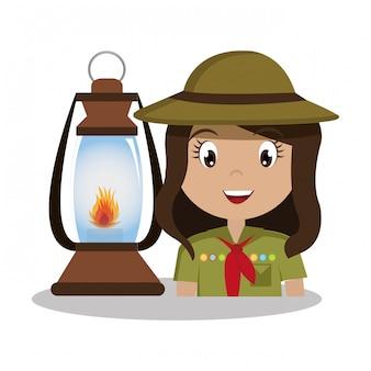 Zwiad postać z lampą ikona na białym tle projekt