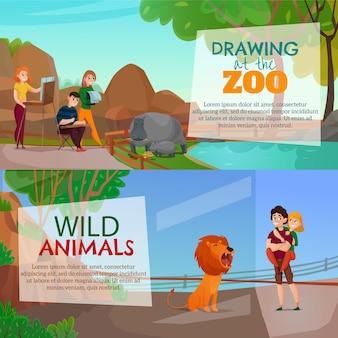 Zwiedzający zoo poziome bannery