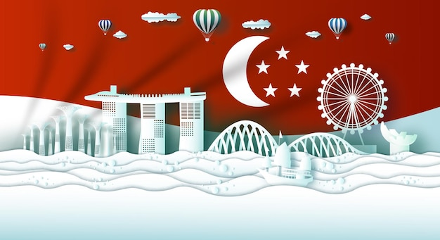Zwiedzanie zabytków singapuru marina bay sand projekt biznesowy z ilustracją flagi singapuru