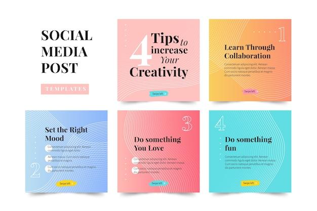 Zwiększ swoje wskazówki dotyczące kreatywności kolekcja postów na instagramie