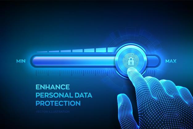 Zwiększenie poziomu bezpieczeństwa prywatności. zwiększenie poziomu ochrony danych osobowych. ręka szkieletu podciąga się do paska postępu pozycji maksymalnej z ikoną oparcia palca i kłódki. ilustracja wektorowa.