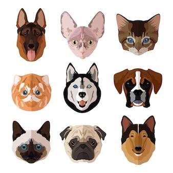 Zwierząt portret płaskie ikony zestaw z kotów psów kociąt i szczenięta izolowane ilustracji wektorowych