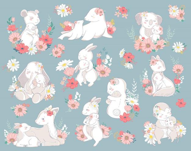 Zwierząt zestaw znaków rodziny z kwiatami. ilustracja. mama i dziecko szczęśliwego dnia matki. mamo kocham cię.