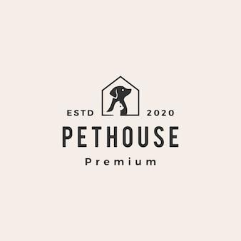 Zwierzę domowe domu psa kota modnisia rocznika loga ikony ilustracja