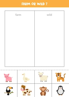 Zwierzę hodowlane lub dzikie. dopasuj karty z uroczymi zwierzętami. gra logiczna dla dzieci.