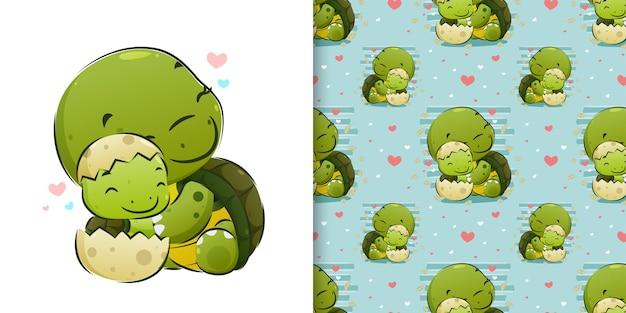 Zwierzę ilustracyjne przedstawiające rozbijające się młode żółwie z jajka obok jej mamy