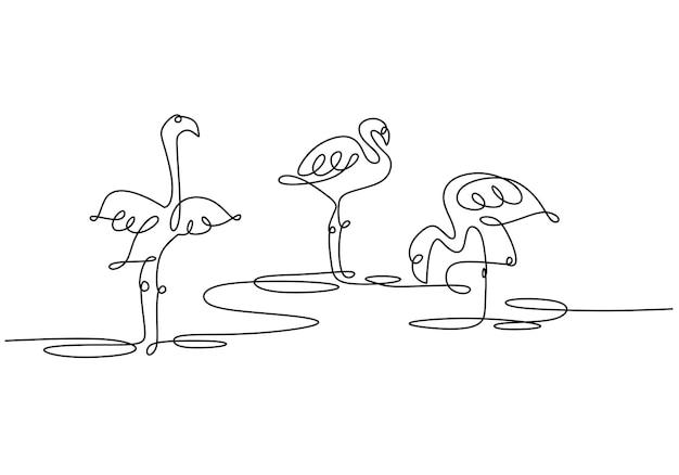 Zwierzę jeden rysunek linii z narysowanym ręcznie flamingiem