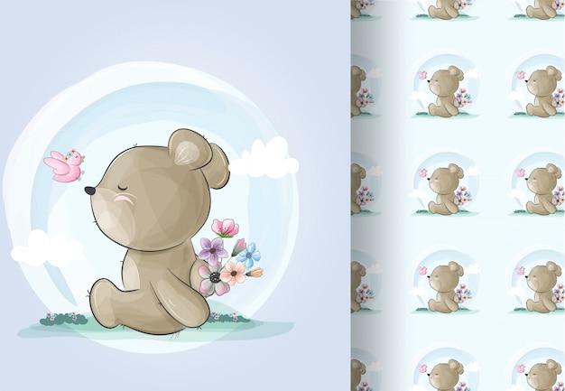 Zwierzę niedźwiedź z kwiatami