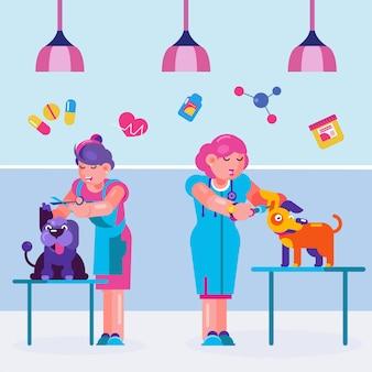 Zwierzę pies przy weterynarzem, kreskówki uwodzenia ilustracja. usługi weterynaryjne dla zwierzaka, kobiety z kreskówek.