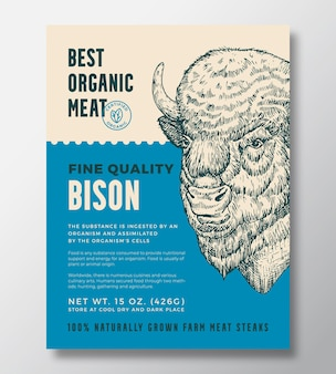 Zwierzę portret ekologiczne mięso streszczenie wektor wzór opakowania lub szablon etykiety hodowlane żubry ste...