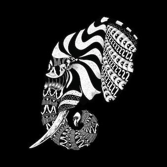 Zwierzę słoń ozdobny ornament dekoracyjna dzika linia graficzna ilustracja sztuka projekt koszulki