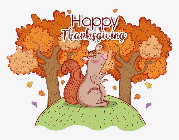 Zwierzę wiewiórka z liści drzew jesienią