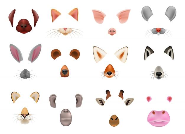 Zwierzęca maska wektor animalistyczna maskująca twarz dzicy charaktery niedźwiadkowy wilczy królik i kot lub pies na maskaradowej ilustraci zestaw karnawał zamaskowany kostium małpa maskarat odizolowywający.