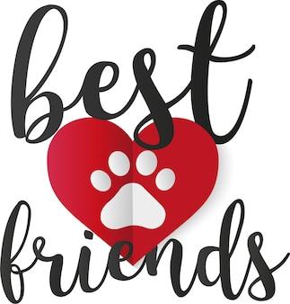 Zwierzęca miłość wektor łapa wydruku jako serce najlepsi przyjaciele
