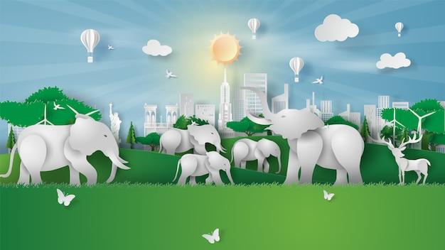 Zwierzęca przyroda w zieleń parku punktach zwrotnych przy miasto nowy jork ameryka.