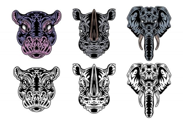 Zwierzęca twarz hipopotama, nosorożec, słoń w stylu retro. ilustracja na białym tle.
