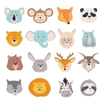 Zwierzęce głowy rysunkowe twarze koala małpa lis zebra panda jeleń lew awatary