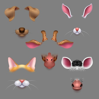Zwierzęce uszy i nosy. selfie filtry do zdjęć zwierzęta twarze maski. zabawny efekt zwierzęcy avatar maska na zdjęcie selfie
