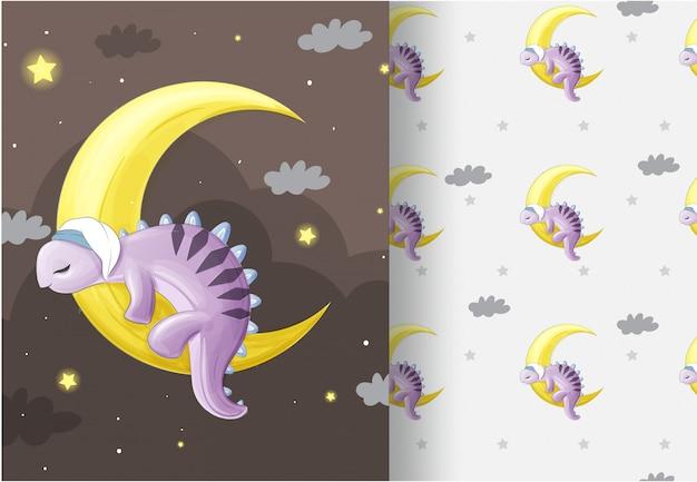 Zwierzęcy dino śpi na księżycu