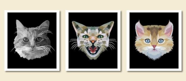 Zwierzęcy druk pet pop-art portret na białym tle dekoracja