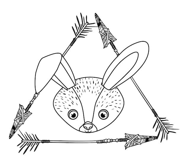 Zwierzęcy rysunkowy styl boho ikona wektorowa ilustracyjna grafika