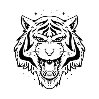 Zwierzęcy tygrys linia graficzna ilustracja wektorowej sztuki koszulki projekt