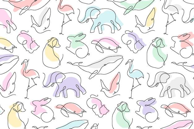 Zwierzęcy wzór tła, kolorowy bezszwowy wektor projektowania linii