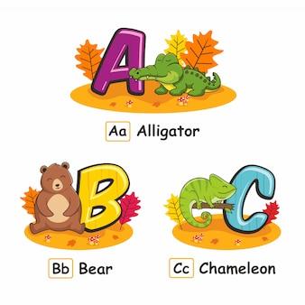 Zwierzęta alfabet jesień aligator niedźwiedź kameleon