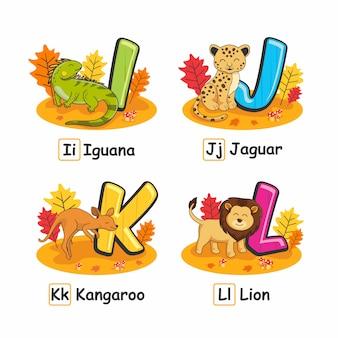 Zwierzęta alfabet jesień legwan jaguar lew kangur